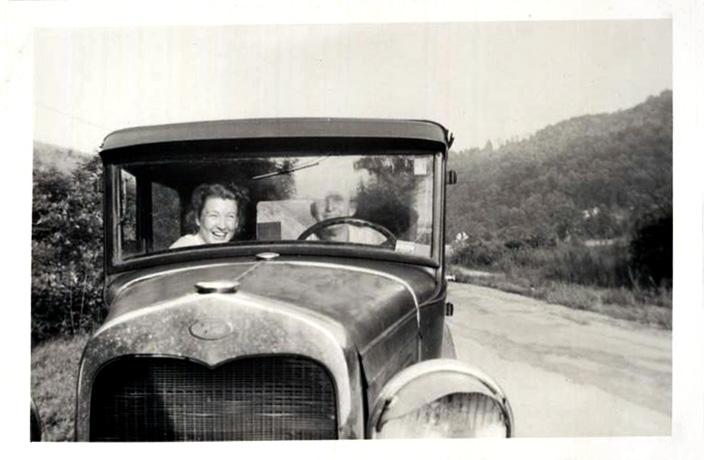 Laughing Couple through Car Windshield, c. 1930s Gelatin Silver Print Snapshot