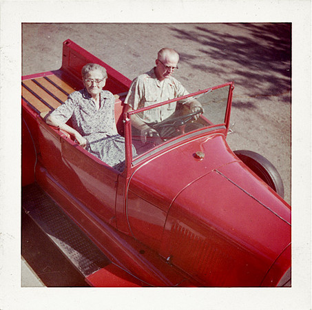 Couple in Model A Ford Pickup, 1960. Dye Coupler Print Snapshot