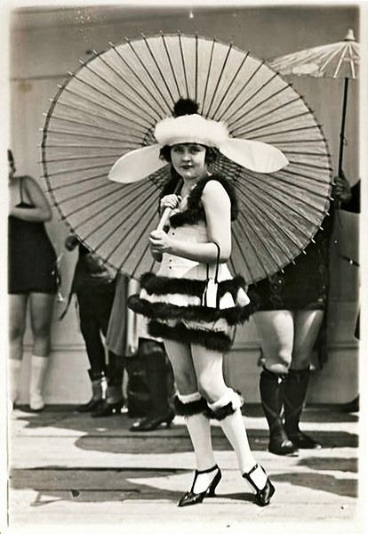 Beauty Pageant Contestant, Rose Bowl, Pasadena, CA 1920. Gelatin Silver Print Snapshot