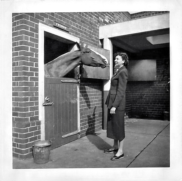 "Horse ""Freddie"" Kissing Woman, c. 1940s. Gelatin Silver Print Snapshot."