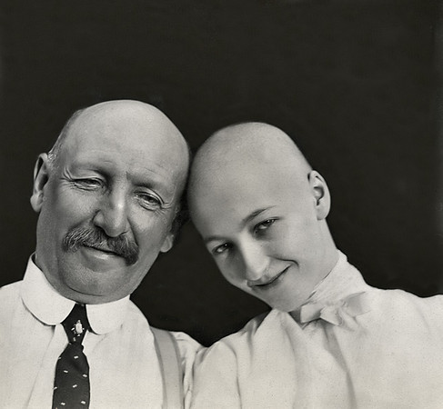 Bald Man and Woman, c. 1910. Gelatin Silver Print Snapshot