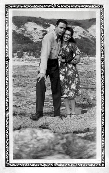 Affectionate Couple, California Shore, c. 1930s. Gelatin Silver Print Snapshot