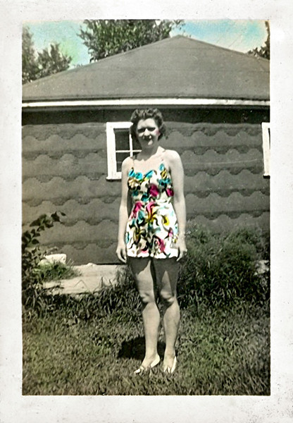 Brightly Colored Sun Dress, c. 1940s. Hand-tinted Gelatin Silver Print Snapshot