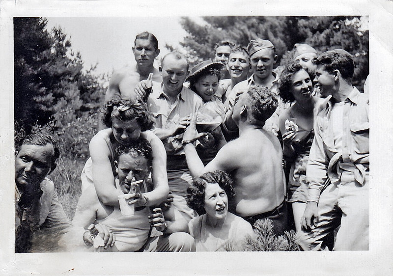 US Soldiers and New Zealand Girl Friends During WWII, c. 1942. Gelatin Silver Print Snapshot