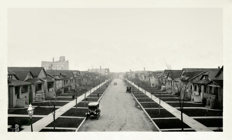 Suburban Development, c. 1920. Gelatin Silver Print Snapshot. (A dreary prospect nearly three decades before Levittown.)