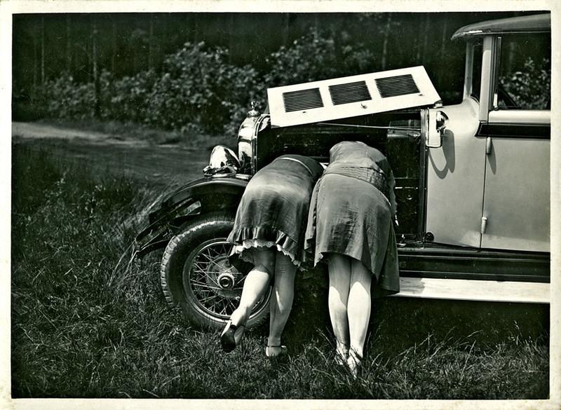 Car Repair, c. 1930s. Gelatin Silver Print Snapshot