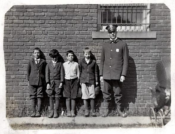 Policeman and Desperado Gang, West Park, OH 1917. Gelatin Silver Print Snapshot
