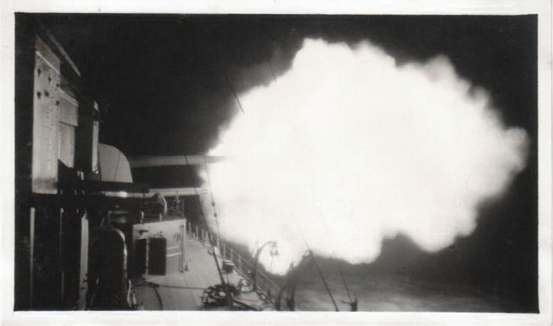 Night Firing 8 Inch Guns, HMS Cumberland, Southeast Asia, c. 1930s. Gelatin Silver Print Snapshot