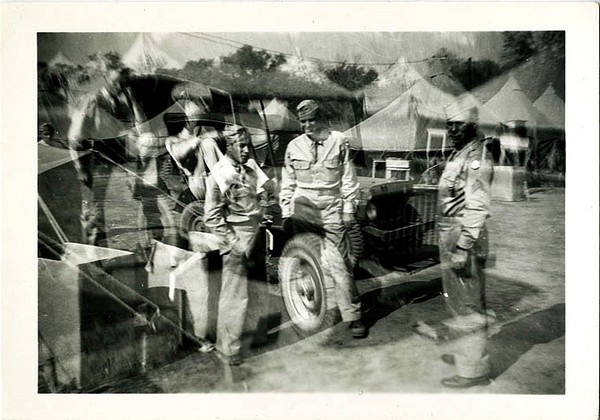 US Army Soldiers Double Exposure, c. 1940s. Gelatin Silver Print Snapshot