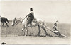 Indian Woman on Horse with Child on Travois, c. 1915. Real Photo Post Card