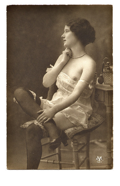 Semi-nude Portrait, c. 1925. Real Photo Post Card