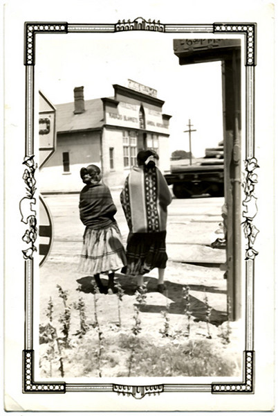 Two Indian Women Crossing Train Tracks,c. 1940s. Gelatin Silver Print Snapshot