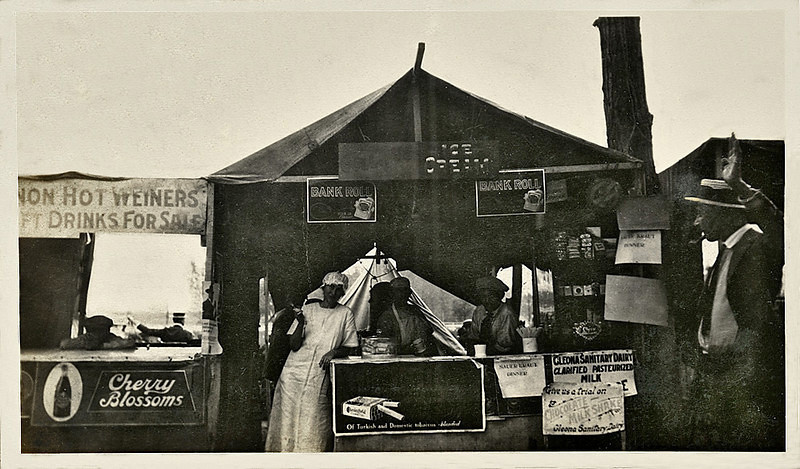 Concession Stand, c. 1910s. Gelatin Silver Print Snapshot