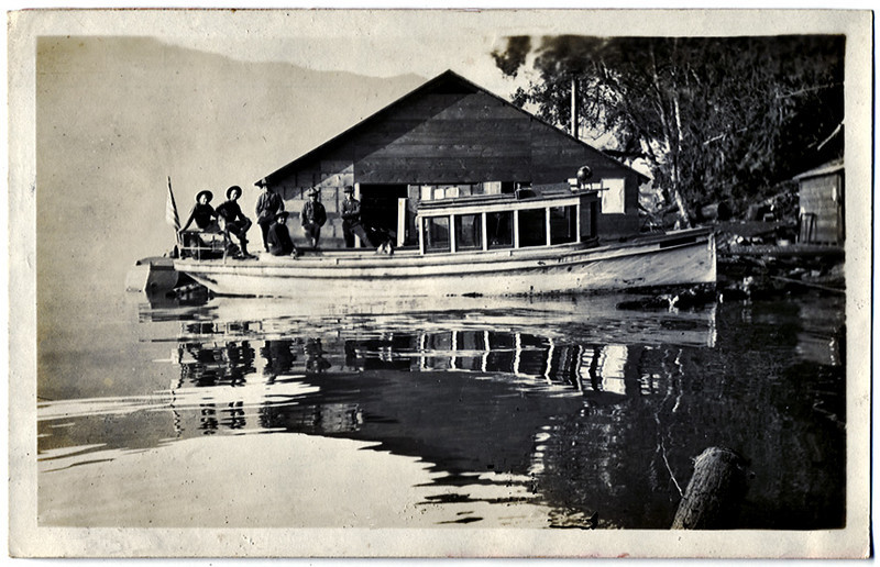 Old Lake Excursion Boat, c. 1915. Gelatin Silver Print Snapshot. (Perhaps a sister craft of the African Queen?)