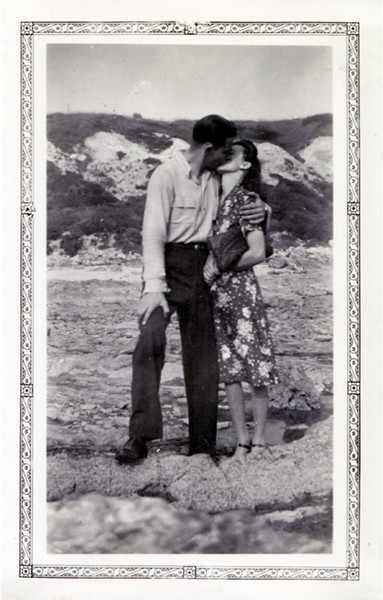 Couple Kissing, California Shore, c. 1930s. Gelatin Silver Print Snapshot