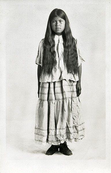 Native American Young Woman with Long Hair, c. 1910. Real Photo Post Card