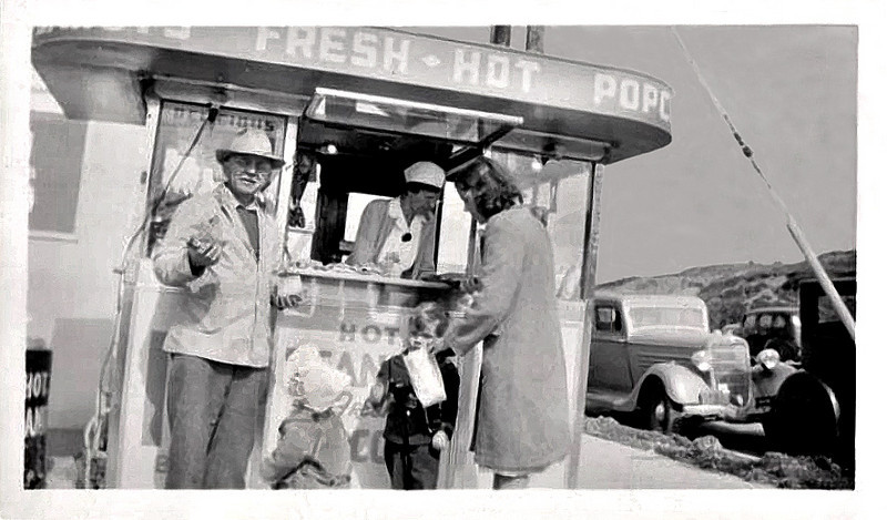 Fresh Hot Popcorn, c. 1930s. Gelatin Silver Print Snapshot