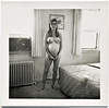 Pregnant Nude in Motel Room, c. 1960s. Gelatin Silver Print Snapshot