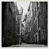A Street In The Old Part Of Town, c. 1940s. Gelatin Silver Print Snapshot