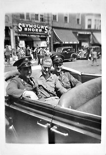 Soldiers in Convertible, Memorial Day Parade, Hack, NJ, 1941. Gelatin Silver Print Snapshot