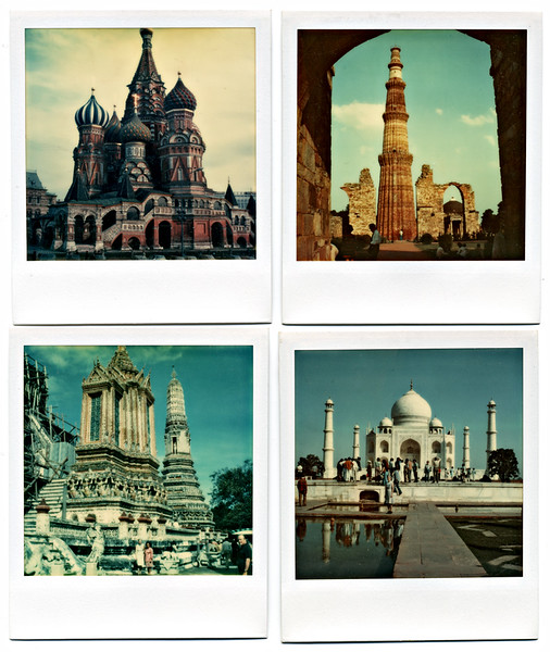 """Edwin E. Williams. 4 Travel Photographs, all dated October 1973. Polaroid SX70 Prints. Prints hand-labeled and dated in ink on verso: (clockwise from top left) """"Moscow St. Basils from Red Square; Delhi Qutb Minar (1206 -1236);  Agra Taj Mahal; Wat Arun (Temple at Dawn)"""""""