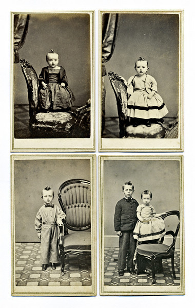 """F. Forshew, Hudson, NY, c. 1864. Four Cartes de Visite of Young Siblings. Albumen prints on card stock with the photographer's imprint on the verso. Before the development of snapshot cameras in the 1880s, studio portraits such as these Cartes de Visite (literally """"visiting cards,"""" the size of a modern business card) were among the least expensive way that most people could get family photographs. On the verso of the image of the boy and girl is affixed a 2 ¢ US Revenue Stamp; these stamps were issued from September 1, 1864 to August 1, 1866 to raise money in support of the war effort."""