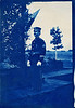 """Dear Mattie, Who is it? Love from all to all. May"" Portrait of a US Marine Sergeant, 1906. Cyanotype Real Photo Post Card"