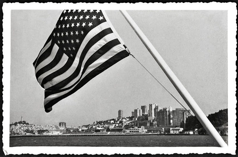 48 Star American Flag with San Francisco, CA in the Background, c. 1940s. Gelatin Silver Print Snapshot