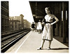 Young Woman on Train Platform, c. 1930s. Gelatin Silver Print Snapshot