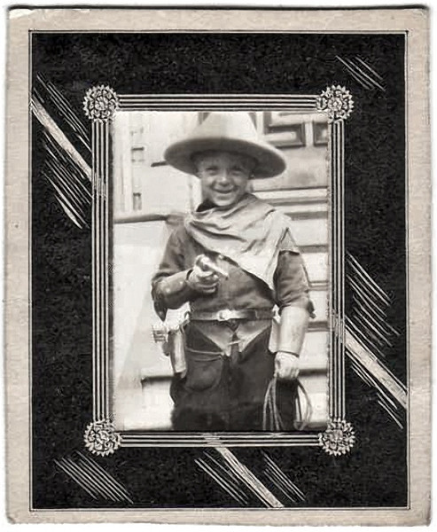 """Robert Age 5 Years"", c. 1920s. Gelatin Silver Print in an Ornate Paper Mat with label for The Owl Drug Co (a San Francisco company) on verso."