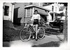 Teenage Girl on Bicycle, c. 1940s. Gelatin Silver Print Snapshot