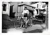 Teenage Girl on Bicycle, c. 1940s. Gelatin Silver Print Snapshot