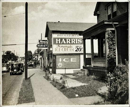"""""""Harris Homemade Ice Cream,"""" c. 1940s. Gelatin Silver Print Snapshot."""
