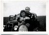 """Clifford E. Clark MM 1/C & Juanita Clark April - 1945 - I was strictly sober - I can't vouch for Juanita. Honey & Jeannie in car."" Gelatin Silver Print Snapshot"