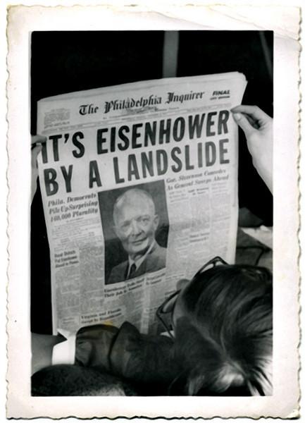 """It's Eisenhower By A Landslide,"" 1951. Gelatin Silver Print Snapshot"