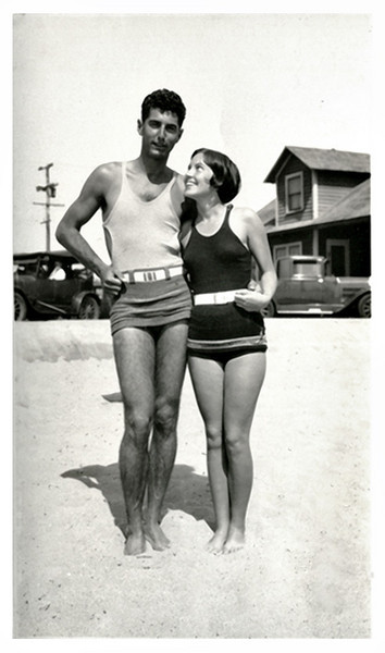 Adoring Young Woman with her Boyfriend at the Beach, c. 1920s. Gelatin Silver Snapshot