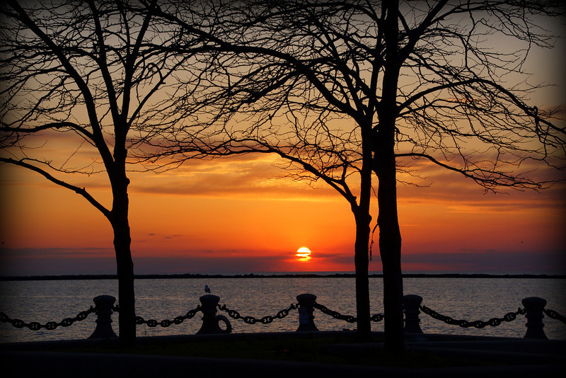 Sunset shot from Voinovich Park Cleveland Ohio