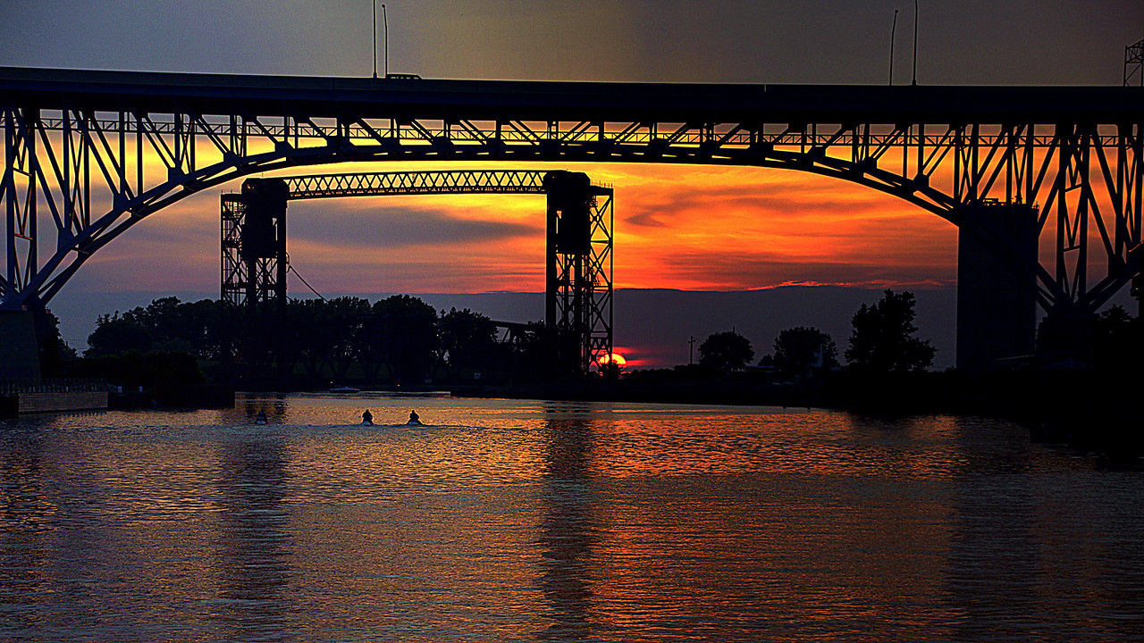 Cuyahoga River in the Flats of Cleveland Ohio