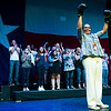 """Tarrant Country Democratic Party chair Deborah Peoples holds up boxing gloves during a rally at the Verizon Theater on Thursday, April 20, 2017, in Grand Prairie, Texas. Sanders, the runner-up in the 2016 Democratic contest for president, appeared in North Texas as part of a national tour urging Democrats to """"Come Together, Fight Back"""" against the agenda of President Trump. (Smiley N. Pool/The Dallas Morning News)"""