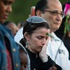 """Rabbi Elana Zelony bows her head during the """"Remember His Name: Vigil for Jordan Edwards"""" candlelight vigil at Virgil T. Irwin Park on Thursday, May 4, 2017, in Balch Springs, Texas. Edwards was a 15-year-old freshman at Mesquite High School, who was shot and killed by a Balch Springs Police Officer as Edwards and his friends were leaving a party on Saturday. Roy Oliver, the officer who shot Edwards was terminated from the Balch Springs Police Department following the shooting. (Smiley N. Pool/The Dallas Morning News)"""