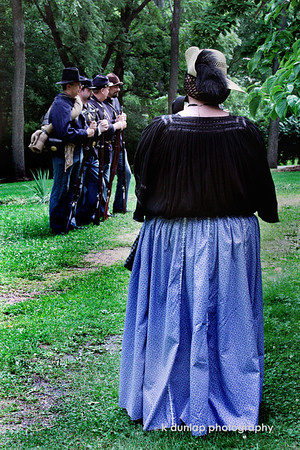"08.11.09 = I think the most forgotten people in this war are the women. They played a  signifiant role at home as well as on the battlefield.  Many of them camped with their husbands and did sewing, cooking, cleaning and nursing for the entire regiment.  <br /> <br /> ""Start by doing what is necessary, then what is possible and suddenly you are doing the impossible.""  St. Francis of Assisi"