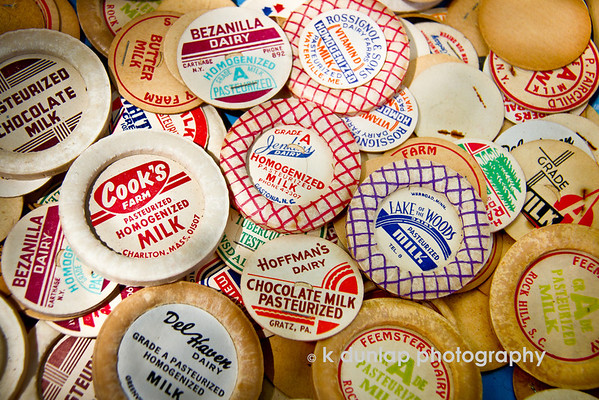 """08.29.13 = Got Milk?<br /> <br /> Just lovin' on these old milk bottle caps.  Remembering the days of the Milk Man and all the local dairies…<br /> <br /> """"Get off your horse and drink your milk.""""  John Wayne"""