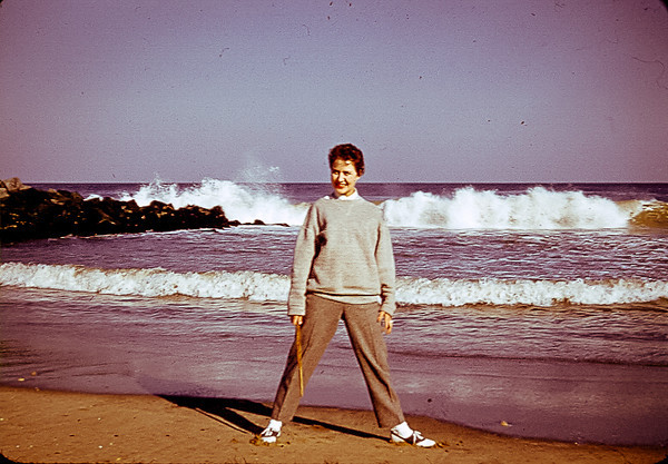 """02.22.13 = Flashback Friday 1957<br /> <br /> Yes, I'm bringing back my Flashback Fridays!  I woke up this morning thinking of this photo of my mom in 1957 on the beach.  I have no idea what made me think of it or why, but I figured it was a sign for a comeback.  I've been so busy with work that I haven't had time to shoot much and since I already have all the FBF photos…. Anyway, this is a great image to resurrect Flashback Friday.  <br /> <br /> """"Well, any good comeback needs some true believers.""""  John Boehner"""