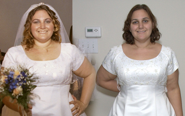 """BEFORE:  In 2001, Hilliary fought to lose weight for our wedding.  She got into the 250s, and squeezed into a Size 20 wedding dress.<br /> <br /> AFTER:  Now under 210 pounds, the same wedding dress is so loose that she can bunch up more than 6"""" of material across the back!"""