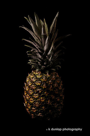 """04.13.11 = The Pineapple<br /> <br /> New to the Dark Vegetable series; The Pineapple.  This was a fun one to shoot.  I walked into the grocery store last week and was inspired by this pineapple to shoot some more fruits and vegetables and add to my Dark Vegetable series. I started the series last winter and haven't added anything new for over a year now.  It's funny how inspiration and a pineapple just hits you one day.   I'm thinking of giving the series a better name like The Renaissance Series or Renaissance…?   I'm usually really good at naming things but I'm have some difficulty with this one.  Any ideas?  Right now it's a collection of vegetables and fruit but I have several new ideas for the series.  Hmmm, makes you wonder what 's going through my crazy head doesn't it?  <br /> <br /> """"Art is never finished, only abandoned.""""  Leonardo da Vinci<br /> <br /> A link to the series.  <a href=""""http://www.kdunlapphotography.com/Things/Dark-Vegetables/12593793_qKoRS"""">http://www.kdunlapphotography.com/Things/Dark-Vegetables/12593793_qKoRS</a>"""