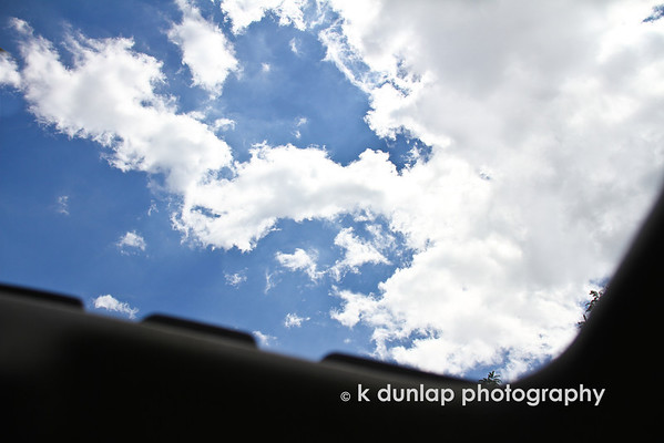 "07.03.12 = Blue Views<br /> <br /> Just a quick shot out of my sunroof of those great blue skies!  Today is a great day; enjoy it!<br /> <br /> ""If you don't think every day is a good day, just try missing one.""  Cavett Robert"