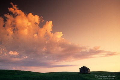 Barn and clouds at dusk, Saskatchewan