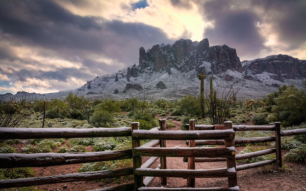 Superstition Mountains with Snow