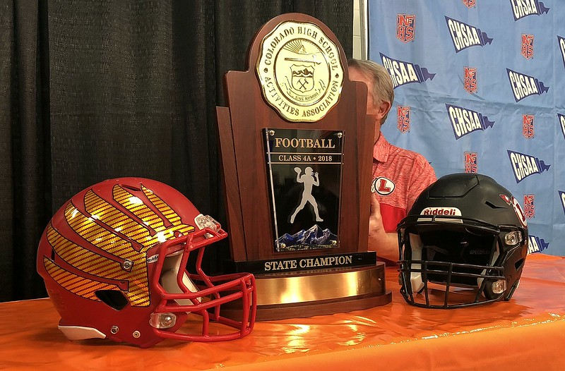 The trophy Loveland and skyline are playing for in Saturday's 4A championship game at Broncos Stadium at Mile High. (Mike Brohard/Loveland Reporter-Herald)