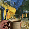 Vincent Van Gogh takes a coffee break<br /> <br /> I have had this image in mind for some time now and finally got around to creating it (with Vincent's help of course). The background is one of Van Gogh's most popular paintings, the Cafe' Terrace on the Place du Forum, at Arles, France, at Night. I photographed the hand with mug, band-aid, and paintbrush and merged it with Van Gogh's image of the Cafe' in the computer. The faint reflection in the mug was created from a self portrait by Van Gogh painted in Paris during the winter of 1886/87. This had a cylindrical warping applied to make it properly conform to the curvature of the mug and was then overlaid on the mug in a transparent manner to create the illusion of the reflection. Finally, I used a pallete of colors found in the Cafe image and applied them to the hand to create the illusion of paint on the hand.<br /> <br /> Despite popular legend (and the above image) Van Gogh did not completely cut off his ear, only a small piece of his ear lobe. He had great passion for his art but only sold one painting during his lifetime. It was not until after his death that his artistic genius was recognized and the demand for and value of his works skyrocketed. I hope all you amazing Smugmuggers recieve your recognition in a more timely manner and please do your best to keep your ears intact. Best regards.